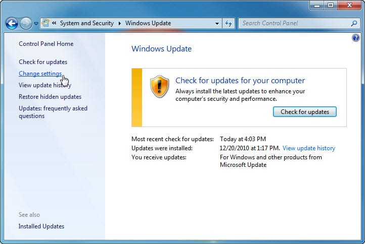 5.2.1.10 Lab – Check for Updates in Windows 7 and Vista Answers 01