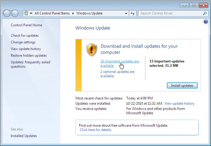 5.2.1.10 Lab – Check for Updates in Windows 7 and Vista Answers 03