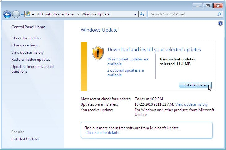 5.2.1.10 Lab – Check for Updates in Windows 7 and Vista Answers 05