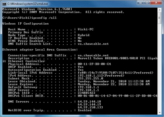 7.4.1.11 Lab – Configure a NIC to Use DHCP in Windows Answers 06